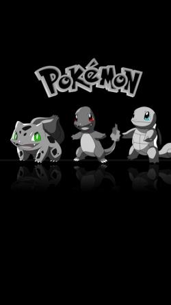 Pokemon Go bulbasour charmander squirtle black Iphone hd wallpaper